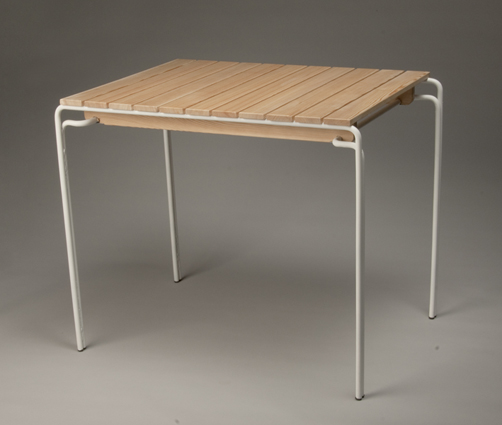 Another Advance Of The Slim Table Is Its Powder Coated Construction And The  Oiled Larch Wood Table Top Which Makes It Waterproof.